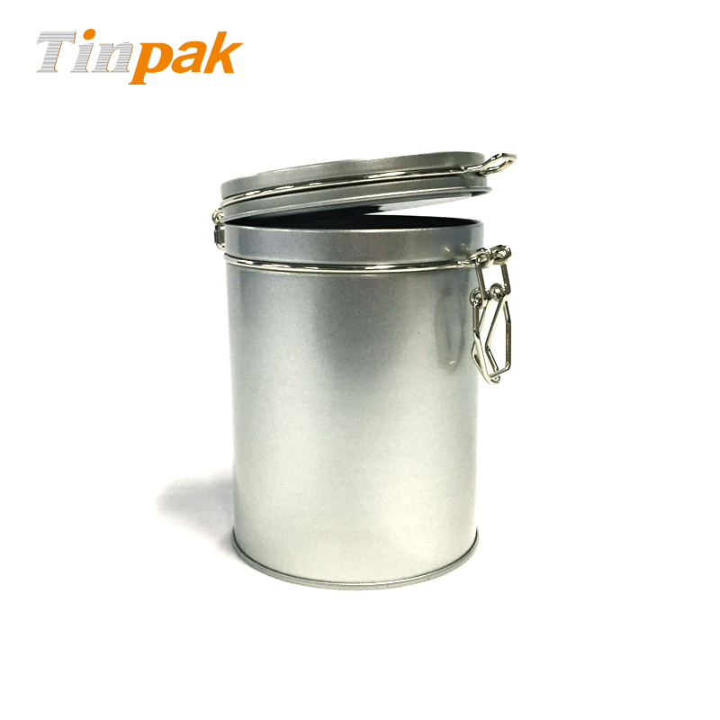 High Level Airtight Round Coffee Clip Lid Tin