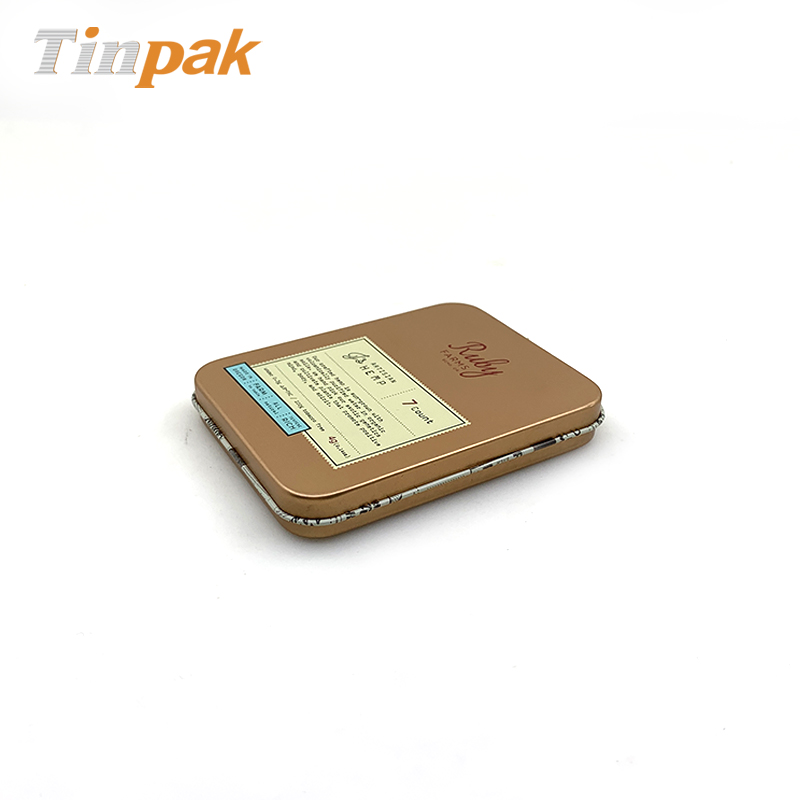 Copper color rectangular hemp weeds packaging tin box