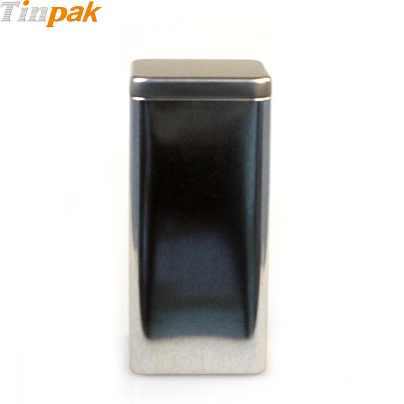 Tall Square Plug Lid Tea Tin Box