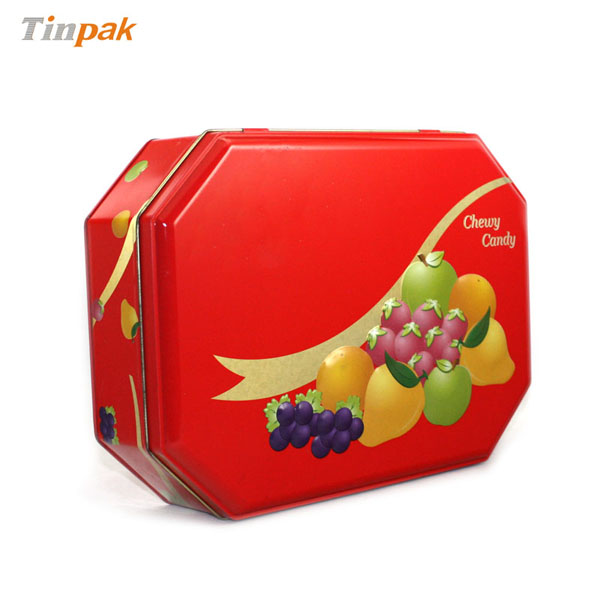 Octagonal Chewy Candy Metal Gift Tin Box Wholesale