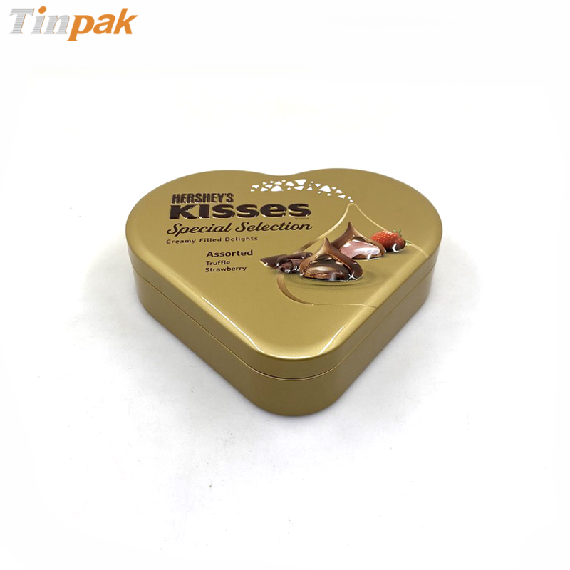 Custon printing heart shape chocolate tin boxes