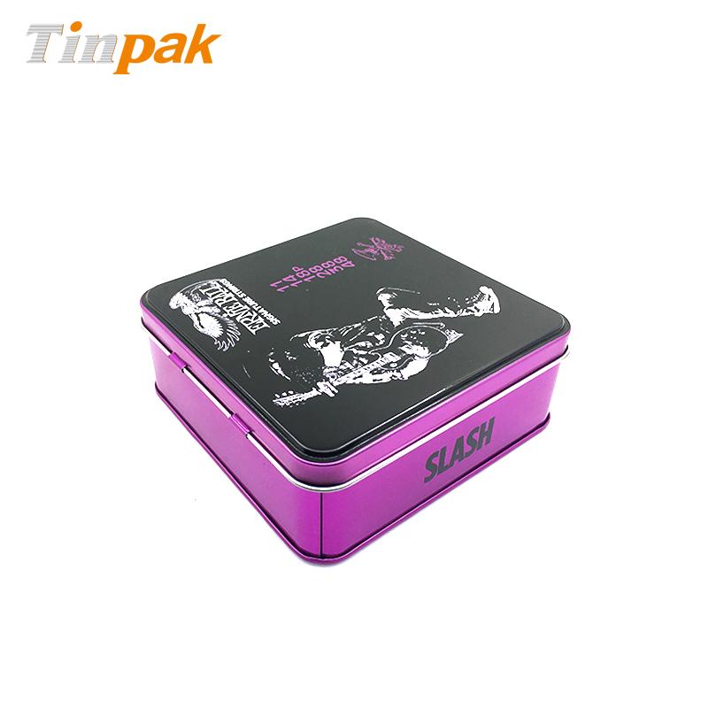 Printed Step Hinged Square Gift Tin Box